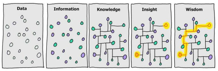 5 stages of survey analysis. Data, Informtation, Knowledge, Insight and Wisdom